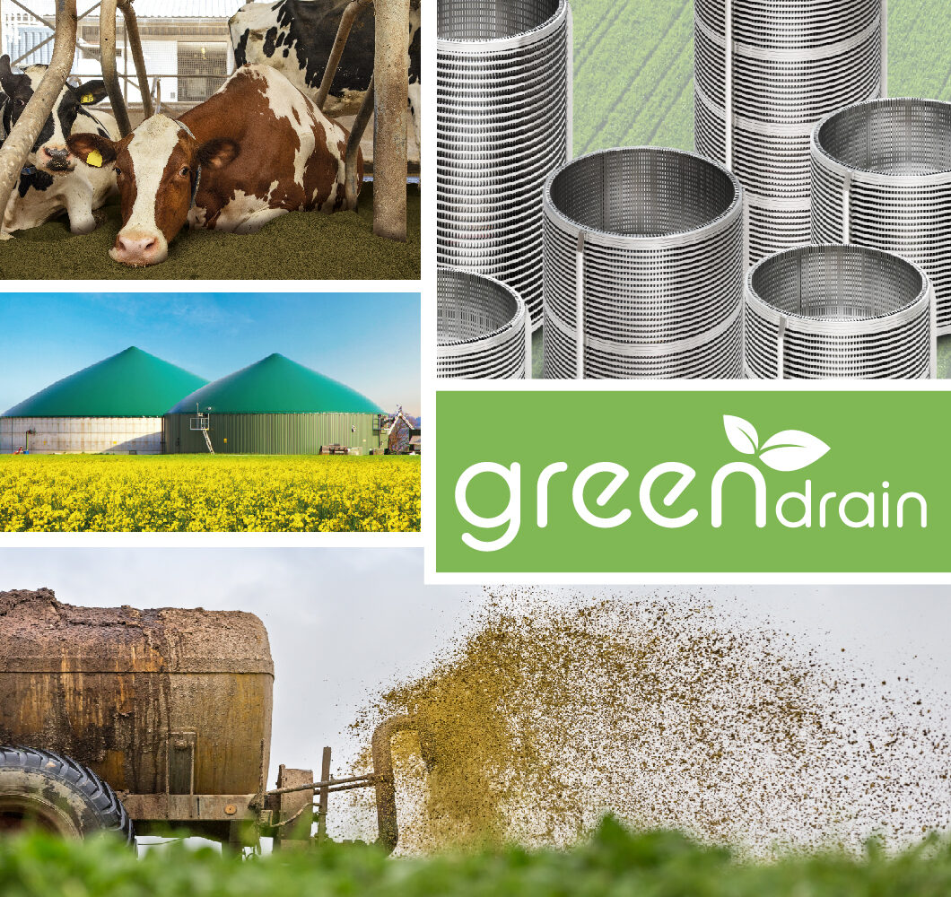 Green Drain screen cylinder or screen basket in the field of economic bedding, biogas, slurry treatment